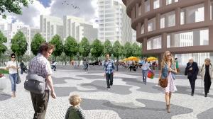 Hagastaden, Nya Karolinska Solna. Utbytesprogram mellan konst och forskning.